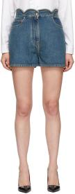 Valentino Blue Denim Scallops Shorts