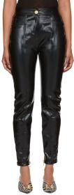 Balmain Black Vinyl Slim Trousers