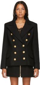 Balmain Black Wool & Cashmere Double-Breasted Jack
