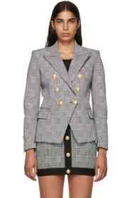 Balmain Black & White Six-Button Blazer
