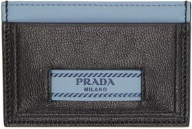 Prada Black & Blue 'Prada Étiquette' Card Holder