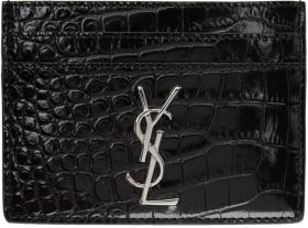 Saint Laurent Black Croc Monogramme Card Holder