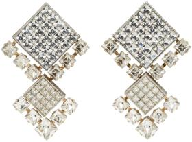 Lanvin Gold & Silver Crystal Clip-On Earrings