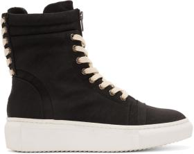 D by D Black Double Lace High-Top Sneakers