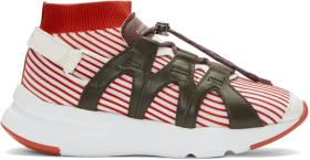 Alexander McQueen Red & White Knit Sock Sneakers