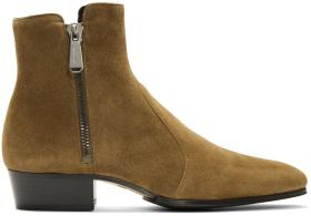 Balmain Brown Suede Anthos Boots