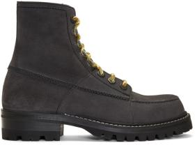 Lanvin Grey Suede Lace-Up Boots