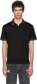 Alexander McQueen Black Beaded Skull Polo T-Shirt