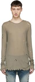Balmain Khaki Long Sleeve Distressed T-Shirt