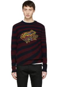 Paul Smith Burgundy & Navy Wool Frog Sweater