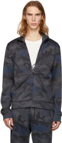 Valentino Navy Camo Zip-Up Sweater
