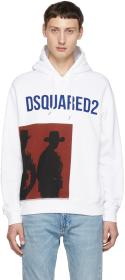 Dsquared2 White Logo Dean Fit Hoodie