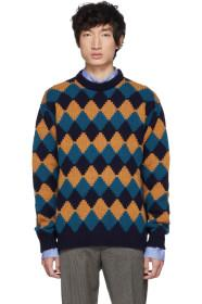Prada Blue & Brown Crewneck Sweater