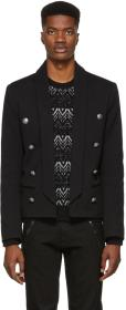 Balmain Black Eight-Button Blazer