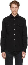 Alexander McQueen Black Distressed Denim Shirt
