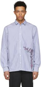 D by D Blue & White Striped Embroidered Shirt