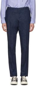 Thom Browne Navy Denim Unconstructed Low-Rise Trou