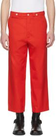 Alexander McQueen Red Cropped Cotton Trousers