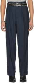 Maison Margiela Blue Wool Pleated Trousers