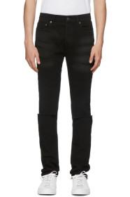 Valentino Black Slit Knees Skinny Jeans