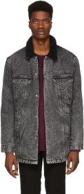 Levi's Grey Denim Long Sherpa Jacket