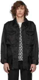 Maison Margiela Black Nylon Distressed Field Jacke