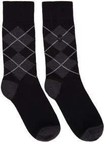 Alexander McQueen Black & Grey Argyle Socks
