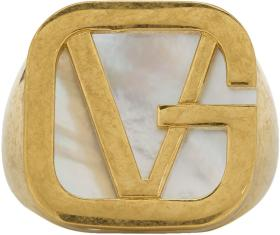 Versace Gold 'GV' Pearl Ring