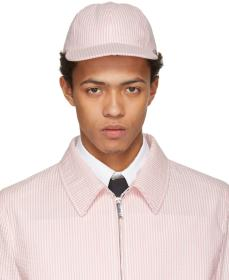 Thom Browne Pink & White Seersucker Six-Panel Base
