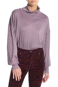Free People Glam Sparkly Turtleneck Pullover