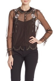 French Connection Alyssa Floral Embellished Blouse