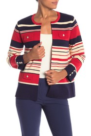 Anne Klein Multi-Striped Wool Blend Cardigan