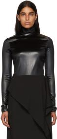 Givenchy Black Faux-Leather Turtleneck Bodysuit