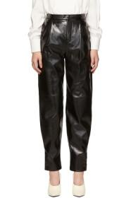 Givenchy Black Leather High-Waisted Trousers