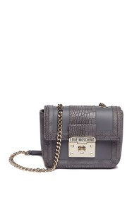 LOVE Moschino Croc Embossed PU Leather Shoulder Ba