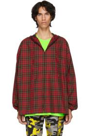 Balenciaga Red Hooded Plaid Shirt
