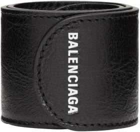 Balenciaga Black Leather Cycle Bracelet