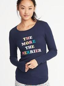 Slim-Fit Holiday Graphic Thermal-Knit Top for Wome