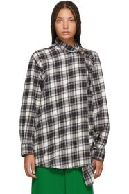 Balenciaga Black & White Check Pulled Shirt