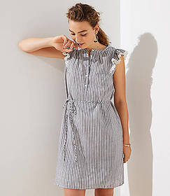 Striped Flutter Shirtdress