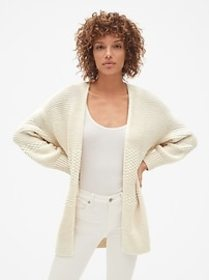 Mix-Knit Cocoon Cardigan Sweater