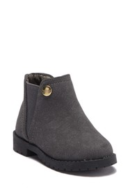 Nicole Miller Faux Suede Ankle Bootie (Toddler)