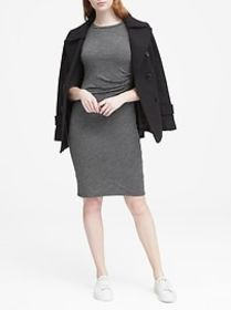 Cozy Knit Long-Sleeve Ruched-Side Dress