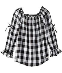 7 For All Mankind Open Sleeve Challis Gingham Top