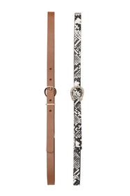 Linea Pelle Snake Embossed Buckle 2-for-1 Belts