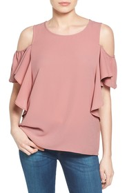 Bobeau Cold Shoulder Ruffle Sleeve Top (Regular &