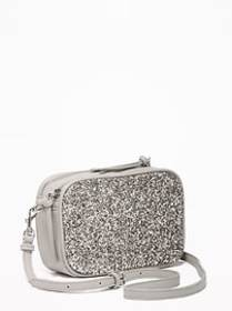 Glitter/Faux-Leather Camera Bag for Women