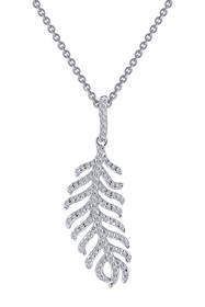 LaFonn Platinum Sterling Silver Pave Feather Neckl