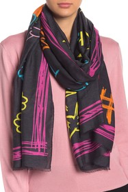 LOVE Moschino Olive Oyl Drawing Woven Scarf