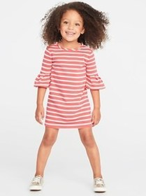 French-Terry Ruffle-Sleeve Shift Dress for Toddler